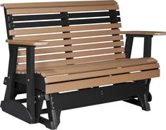 Amish LuxCraft 4' Plain Poly Glider Bench Highly durable and made from recycled plastics. This comfy, cozy poly glider comes in a variety of colors from brights to neutrals to two tone combos.