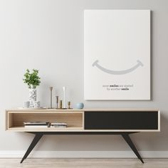 Minimalist Smile Poster by Design Minimalism. Black and White Scandinavian Home Decor. Click here to find the digital download and physical print.