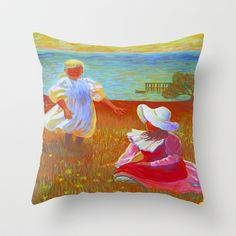 THE SISTERS - Reproduction of American Impressionist Frank Benson painting from 1899 Throw Pillow