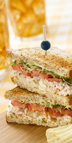 Try this tasty Tuna Fish Sandwich recipe, which contains sprouts, sliced tomatoes, salad greens and Marzetti Otria Garden Herb Ranch Greek Yogurt Veggie Dip. #MarzettiRecipes