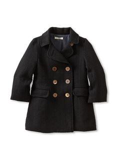 60% OFF Blu Pony Vintage Kid's Double-Breasted Coat (Black)