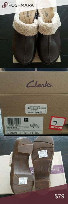Clark's brown mules size 7 Clarks Brand new with box size 7.  Dark brown leather cuir Marron Fonce Clarks Shoes Mules & Clogs