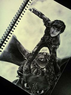 Awesome art of Hiccup and Toothless :)