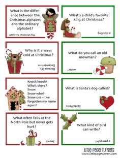 Little Page Turners: More Christmas Lunch Notes - Kids Lunch Christmas Jokes For Kids, Funny Christmas Messages, Funny Christmas Jokes, Christmas Lunch, Christmas Crackers, Christmas Games, Christmas Activities, Family Christmas, Christmas Humor