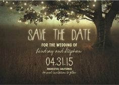 #save_the_date country wedding invitations. trees and string lights.