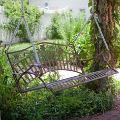 Turn a garden bench into a swing!