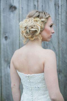 braided messy bun, photo by Tom and Keidi Photography http://ruffledblog.com/leafy-winter-inspiration #hair #weddinghair #bridal