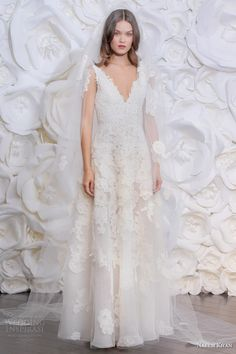 naeem khan fall 2015 spain sleeveless tulle a line wedding dress straps lace appliques