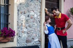 Gaston and Belle cosplay, Beauty and the Beast. Look at that face.