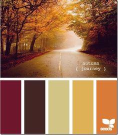 Autumn journey color palette by Design Seeds Scheme Color, Color Palate, Color Combinations, Fall Color Schemes, October Wedding Colors, Fall Wedding Colors, Autumn Interior, Modern Interior, Purple Interior