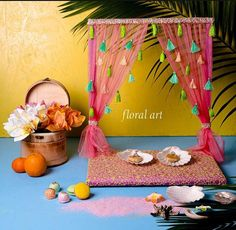 This Tropical Tassel Theme Ring Platter Designed by Floral Art by Srishti-Mumbai. Ganpati Decoration Design, Thali Decoration Ideas, Diy Diwali Decorations, Backdrop Decorations, Diy Wedding Decorations, Festival Decorations, Desi Wedding Decor, Wedding Crafts, Diy Crafts Hacks