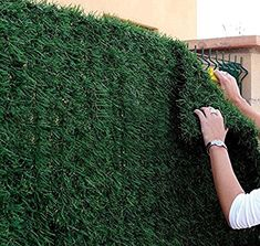 Amazon.com : Synturfmats Artificial Hedge Slats Panels for Chain Link Fencing Outdoor Faux Hedge Privacy Screen Fence : Garden & Outdoor