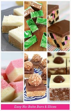 No-Bake Bars & Slices (the most popular recipes!) 15 Easy No-Bake Bars & Slices roundup ! best bar and slice round-up Easy No-Bake Bars & Slices roundup ! best bar and slice round-up ever! No Bake Treats, No Bake Desserts, Just Desserts, Yummy Treats, Sweet Treats, Dessert Recipes, Yummy Food, No Bake Slices, Ma Baker