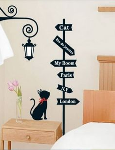 Black Cute Kitten Wall Decal For Girl Bedroom Interior Design : Great Ideas  For Pet Lovers