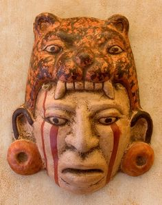 Maya Jaguar Priest Ceramic #Mask