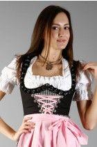 Freches 3tlg. Dirndl schwarz rosa schwarz-weiss-kariert mit Bluse und Schuerze