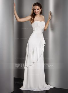 - $120.99 - A-Line/Princess Sweetheart Floor-Length Chiffon Wedding Dress With Beading Cascading Ruffles (002013765) http://jjshouse.com/A-Line-Princess-Sweetheart-Floor-Length-Chiffon-Wedding-Dress-With-Beading-Cascading-Ruffles-002013765-g13765