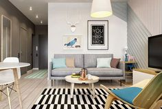 architecture have recently completed the Interior TR project, consisting of a cozy studio apartment that maximizes living spaces in Moscow, Russia. Small Living Room Design, Small Room Decor, Small Living Rooms, Living Room Modern, Home Living Room, Living Room Designs, Living Area, Design Room, Salon Design