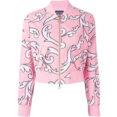 Boutique Moschino graphic print bomber jacket (2.145 RON) ❤ liked on Polyvore featuring outerwear, jackets, tops, flight jacket, boutique moschino, bomber style jacket, pink bomber jacket and pink jacket