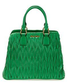 "Miu Miu ""Matelasse"" Leather Satchel #green"
