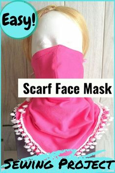 Learn how to sew scarfs with face masks using this easy DIY tutorial. This mask sewing project will teach you to make a mask attached to a face mask. Easy and quick to sew, these masks with three layers of fabric, a removable nose wire, and a filter in between will give you the maximum protection possible, if not complete. #sewingproject #scarfacemaskdiy #facemasksewingtutorial facemasksewingdiy #scarfacemaskdiysewingpattern
