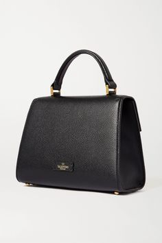 Black Valentino Garavani VSLING small textured-leather shoulder bag | Valentino | NET-A-PORTER Valentino Bags, Valentino Garavani, Designer Bags, Leather Shoulder Bag, Night Out, Calves, Dust Bag, Texture, Tote Bag