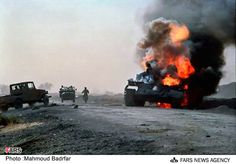 An epic shot features Iraqi Type 69-II burning. Iran-Iraq War.