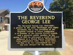 The Reverend George Lee (1903-1955), a pioneer in the early Mississippi Civil Rights Movement, was a Vice President of the Regional Council of Negro Leadership, a co-founder of the Belzoni NAACP branch, and a powerful public speaker. In the spring of 1955 he addressed a crowd of 10,000 gathered at a Mound Bayou, Mississippi voter registration rally. Two weeks later, on May 7, he was assassinated; no one was ever charged for the murder.