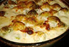 Baconös-parmezános kelbimbó   NOSALTY Hungarian Recipes, Hungarian Food, Vegetable Recipes, Entrees, Cauliflower, Macaroni And Cheese, Bacon, Paleo, Food And Drink