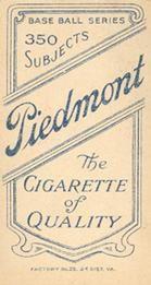 1909-11 The American Tobacco Company T206 White Border #NNO Stoney McGlynn Back