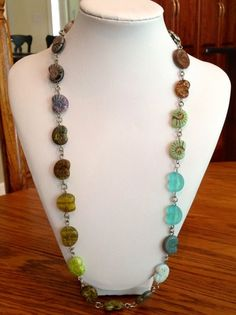 Stained Glass Fossil Ammonites Beaded Necklace    evezbeadz.ArtFire.com,  75% OFF everything, 1 Day Sale