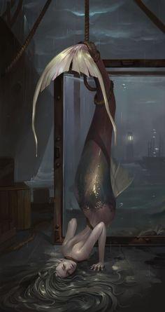 The best jokes (comics and images) about fantasy pictures, rating - fantasy) Magical Creatures, Fantasy Creatures, Sea Creatures, Fantasy Kunst, Fantasy Art, Mermaids And Mermen, Merfolk, Mermaid Art, Tattoo Mermaid