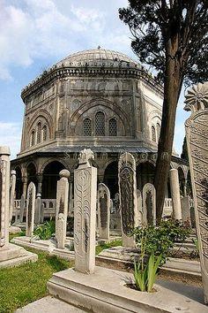 Vista de la Tumba de Suliman el Magnífico en la Mezquita de Suleymaniye, Estambul Turquía.