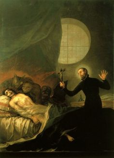 Francis Borgia at the Deathbed of an Impenitent, 1788 by Francisco de Goya Spanish Painters, Spanish Artists, Spiritus, St Francis, Old Master, Henri Matisse, Klimt, Dark Art, Les Oeuvres