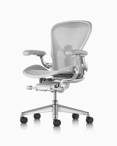 Herman Miller Aeron Office Chair – Size B, Graphite - - Size: Height Adjustable Plus Pivot Arms - Herman Miller Authorized Retailer - Style: Industrial Work Chair, Mesh Office Chair, Office Furniture Design, Chair Design, Arne Jacobsen, Graphite, Chair Eames, Chair Cushions, Swivel Chair