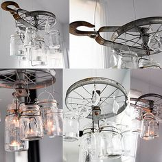 Vintage Pulley Chandelier with Mason Jars