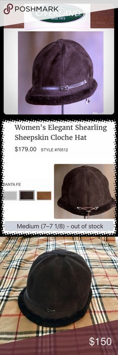 Overland Shearling Cloche Hat Dark brown hat in a classic cloche style for the elegant lady you are. Bought at the Overland store in Omaha. One of the best known companies for sheepskin, leather, fur, & wool. 8-panel construction from Spanish Merino shearling sheepskin. Insulates from the cold with a leather exterior and thick shearling lining that trims the brim. Front buckled leather band with ties in the back to allow for a perfect fit. Sold out in this size/color. Brand new condition…