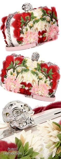 Alexander McQueen skull floral-appliquéd tulle and satin box clutch | Purely Inspiration