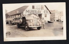 Antique Photograph Two Men By Cool Old Time Truck Murray & Co. Farm Products