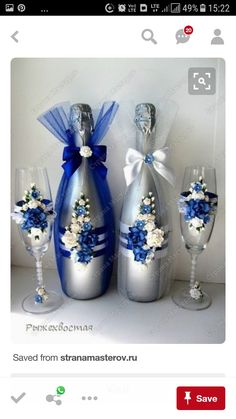 Decorative Bottles: Wedding Bottles (Continued) More - Read More - Source by contact_DecorHome Wedding Wine Glasses, Wedding Bottles, Wedding Champagne, Decorated Wine Glasses, Painted Wine Glasses, Wine Glass Crafts, Wine Bottle Crafts, Recycled Glass Bottles, Decorative Bottles