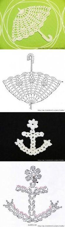 FREE DIAGRAM ~ Crochet Anchor Applique ~ ༺✿ƬⱤღ https://www.pinterest.com/teretegui/✿༻