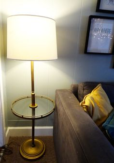 Love this mid-century modern - Hollywood Regency style brass floor lamp with glass table.