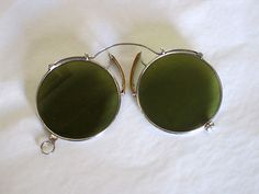 Antique green French Pince Nez Sunglasses.