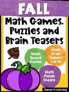 Fall Math Activities - Games, Puzzles and Brain Teasers Fun Math Activities, Activity Games, Math Games, Math Skills, Math Lessons, Learning Resources, Teaching Ideas, Math Boards, Fast Finishers