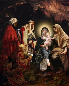 The Adoration of the Magi by Howard David Johnson ~ Nativity of Jesus Religious Paintings, Religious Art, Christmas Nativity Scene, Merry Christmas, Nativity Scenes, Xmas, Jesus Christus, Three Wise Men, Biblical Art