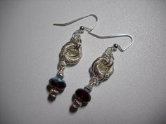 Silver Mobius Flower CHAINMAILLE Beaded Earrings by Beads4You2008,