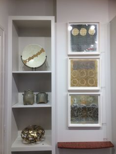 mono prints by Zemma White glass by Hegland Glass pottery by Marilee Schumann metal by Rob Glebe