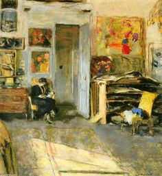 Madame Josse Hessel in Vuillard's Studio, Drawing by Edouard Vuillard (1868-1940, France)