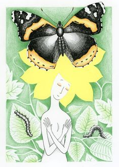#žena#motýl#krása#babočka#listy#housenka#zelená#rostliny#vlasy