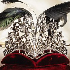 Antique Tiara, France (ca. 1880; diamonds, tortoiseshell, feathers).